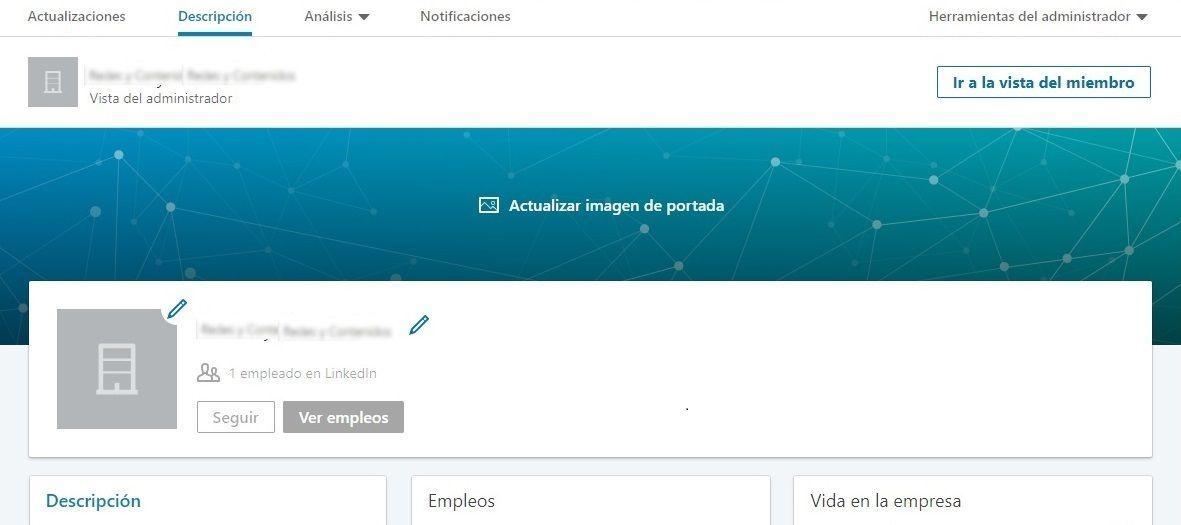 Crear empresa en LinkedIn - Empezar a añadir elementos a la página de empresa