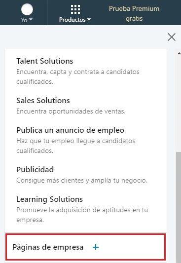 Crear empresa en LinkedIn - Productos > Crear Página de Empresa