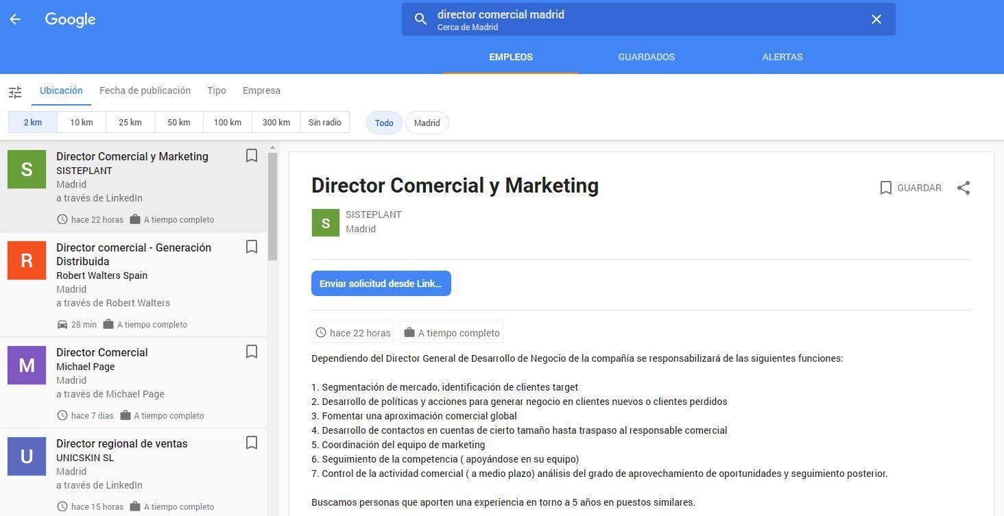 google empleos interfaz