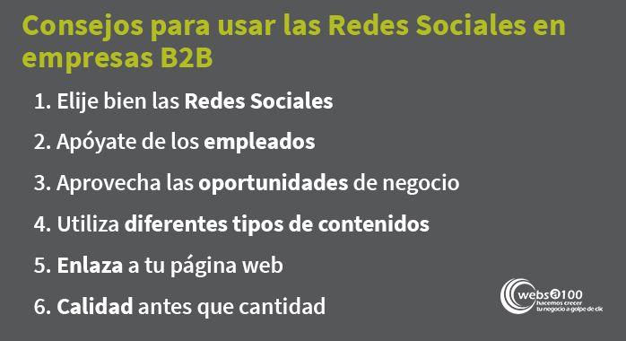6 Consejos redes sociales b2b empresas