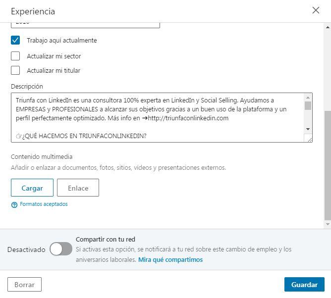 subir multimedia LinkedIn cargar