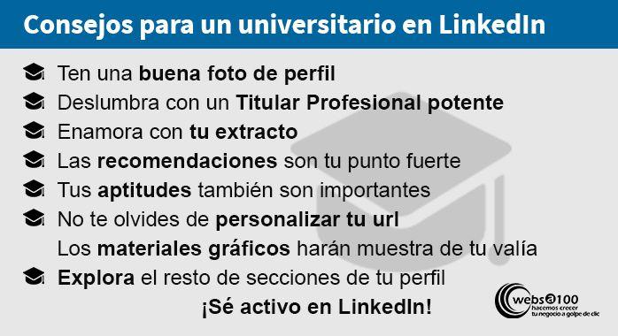 Consejos universitario en LinkedIn