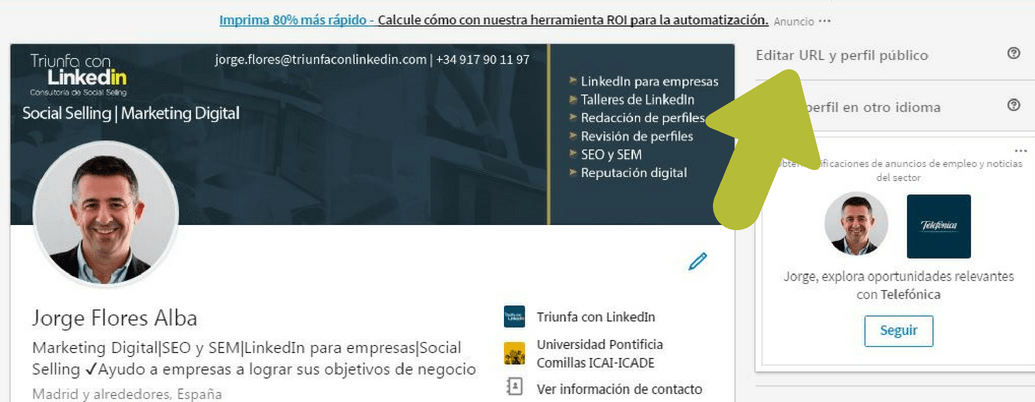universitario linkedin perfil url