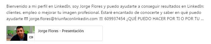 multimedia ejemplo perfil de LinkedIn