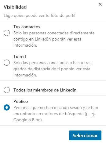 Foto LinkedIn - Ventana para seleccionar la visibilidad de la foto del perfil