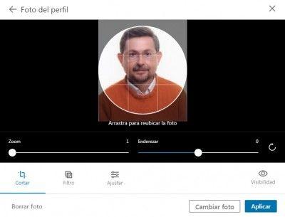 Foto LinkedIn - Ventana de opciones para la foto del perfil