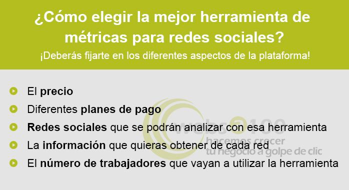 como elegir mejor herramenta metricas redes sociales