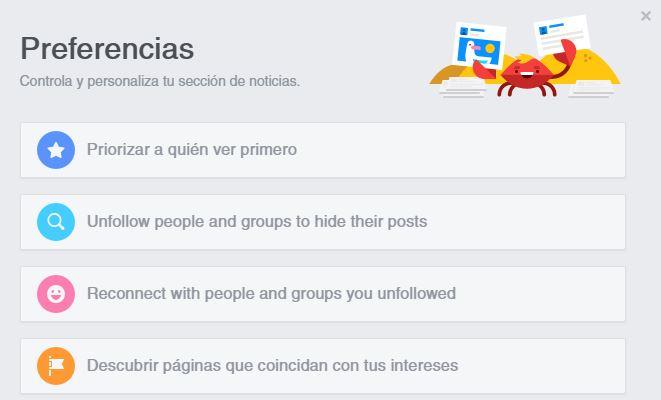 preferencias contenidos facebook