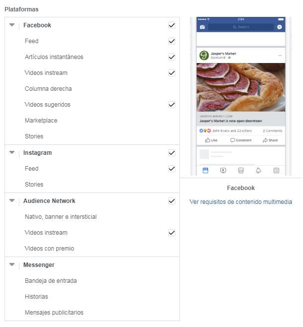 campaña facebook ubicaciones