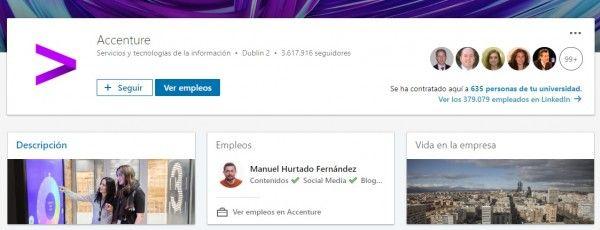Marca empleadora en LinkedIn: Página de empresa en LinkedIn de Accenture