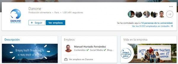 Marca empleadora en LinkedIn: Página de empresa en LinkedIn de Danone