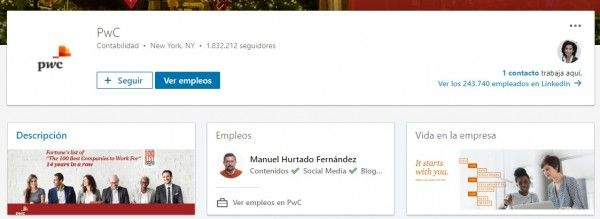 Marca empleadora en LinkedIn: Página de empresa en LinkedIn de PwC