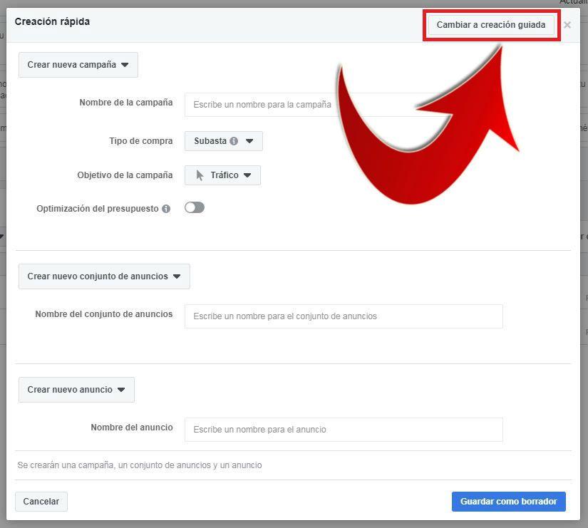 crear anuncios en facebook rápido