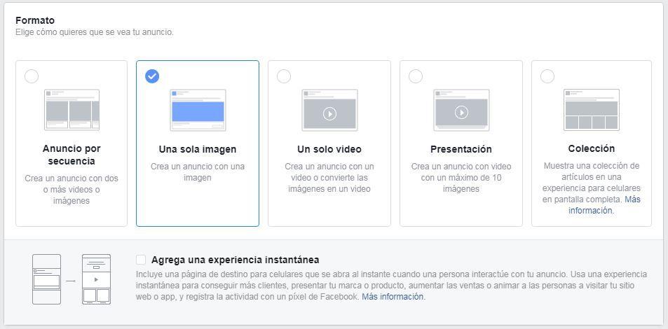 formatos anuncios en facebook