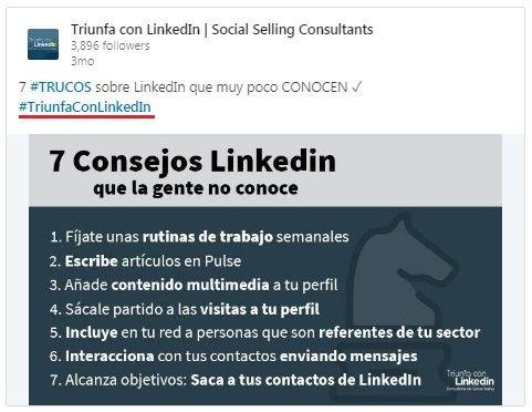 LinkedIn hashtags: ejemplo de hashtag en un contenido para hacer clic en él