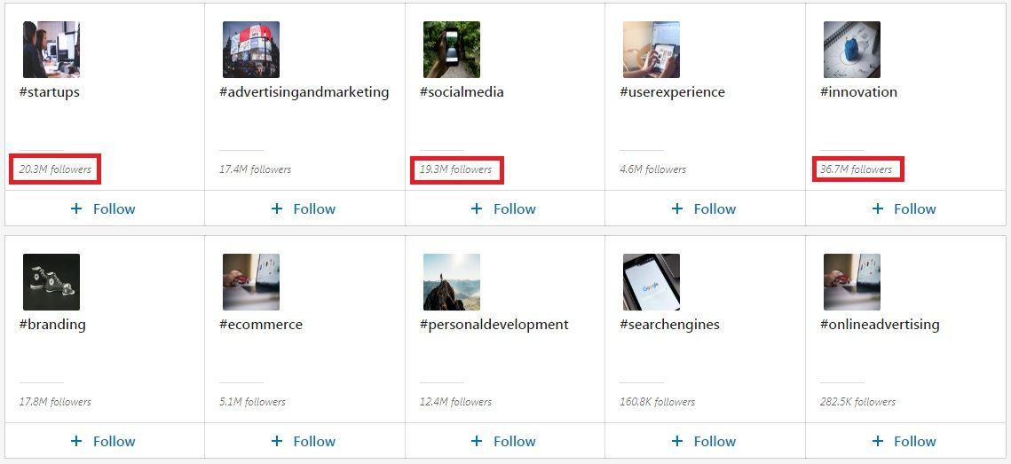 LinkedIn hashtags - Your communities - Hashtags populares y su número de seguidores