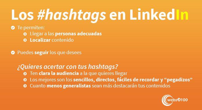 LinkedIn hashtags - Infografía