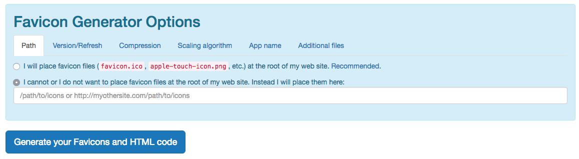 Generar tus Favicons y código HTML