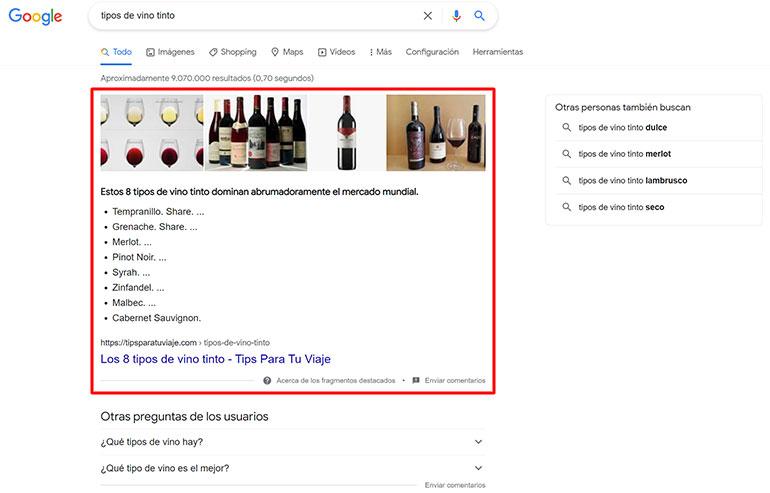 los Snippets destacados de Google