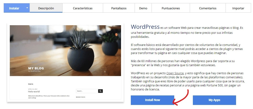 Si todavía no has instalado WordPress en tu dominio recién comprado: