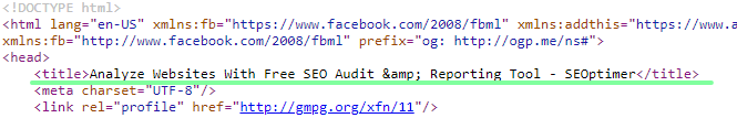 html title tag in page source
