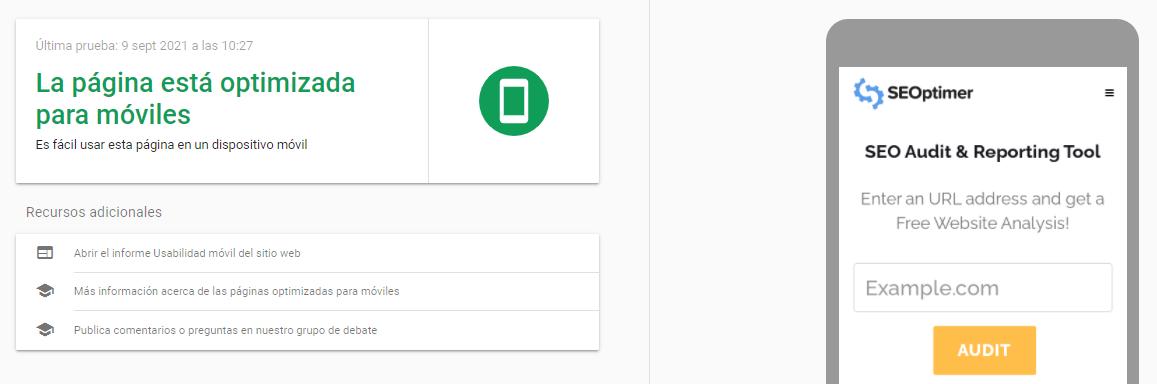 puedes ver un ejemplo de un informe del test para dispositivos móviles