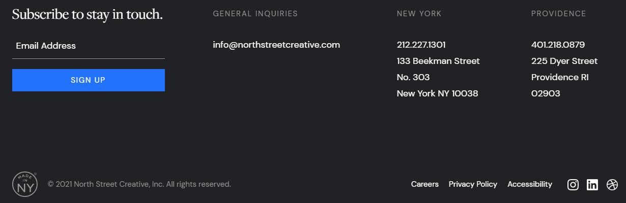 northstreet creative footer