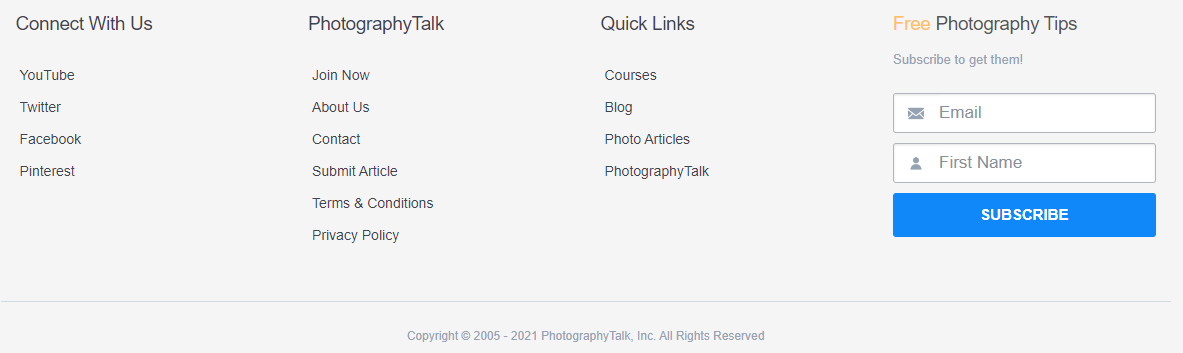 photography talk footer
