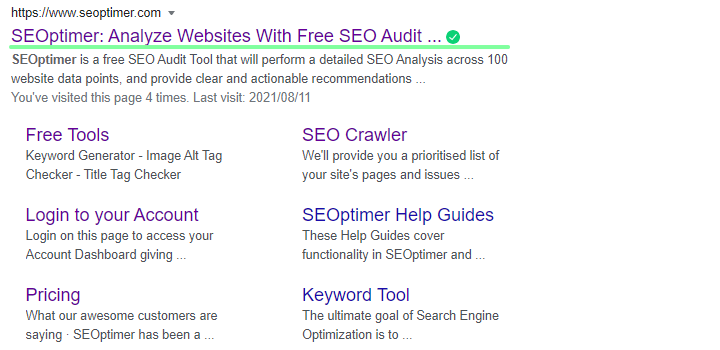 title html tag in serp